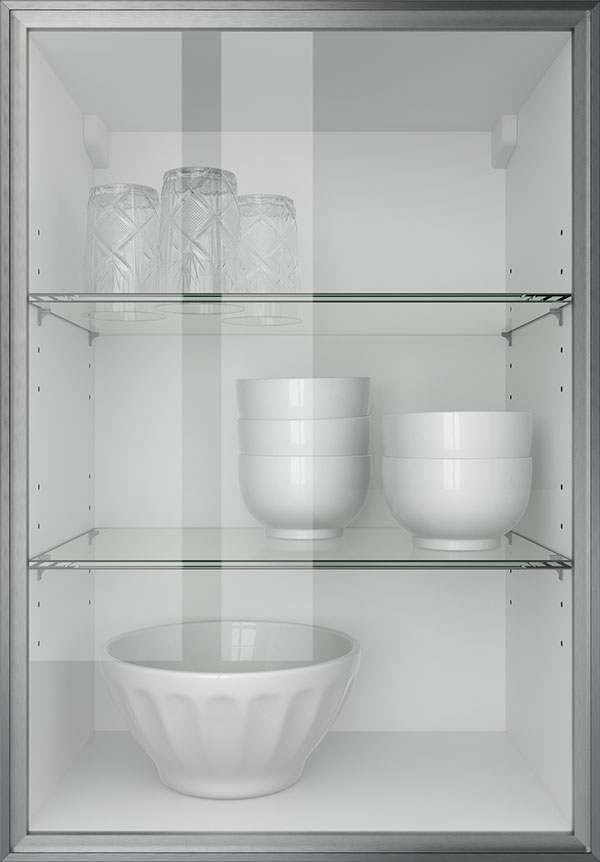 artego Küchen · Glasrahmentür Edelstahl Klarglas