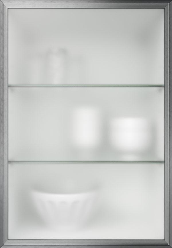 artego Küchen · Glasrahmentür Edelstahl Mattglas